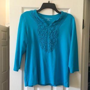 Teal 3/4 sleeve embellished top.